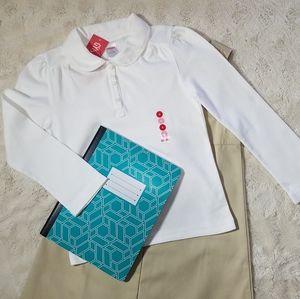 Gymboree Long Sleeve Polo, White, Uniform VTG sz6